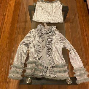 Angora fur rhinestone ruffle Sweater + cami L